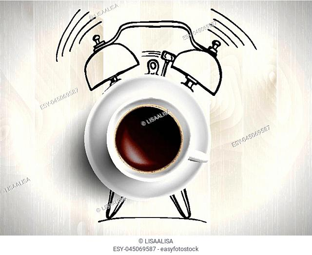 Alarm clock and coffee concept illustration on wooden background