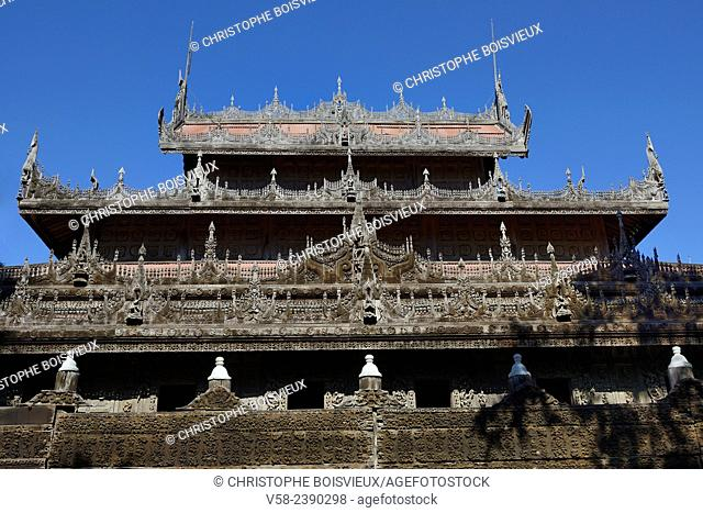 Myanmar, Mandalay, Shwenandaw monastery (19th C)