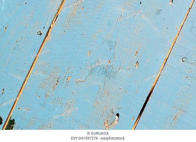Vintage grunge blue background of natural wood old texture. Close up