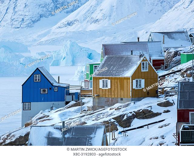 Town Uummannaq during winter in northern Greenland. America, North America, Denmark, Greenland