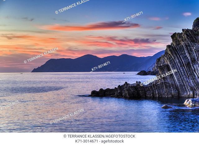 Sunset over the Mediterranean Sea near the village of Riomaggiore, Cinque Terre, Italy, Europe
