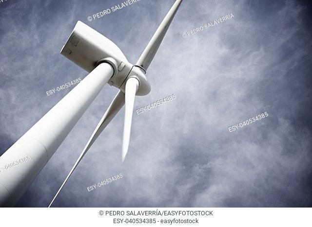 Windmill for electric power production, Pozuelo de Aragon, Zaragoza Province, Aragon, Spain