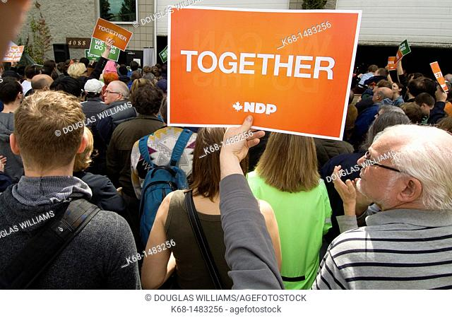 a political rally for the New Democratic Party, NDP, before the federal election in Canada, 2011, in Burnaby, British Columbia