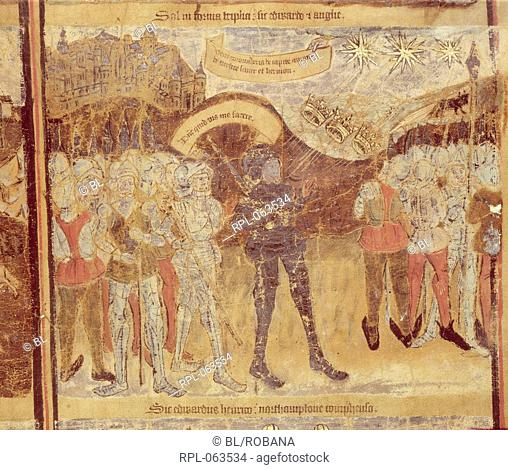 Battle of Mortimer's Cross Miniature Edward of York afterwards King Edward IV encouraged by a vision of three suns joining to form one defeats the Lancastrians...