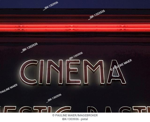 Cinema, neon lettering on a movie theater, Paris, France, Europe