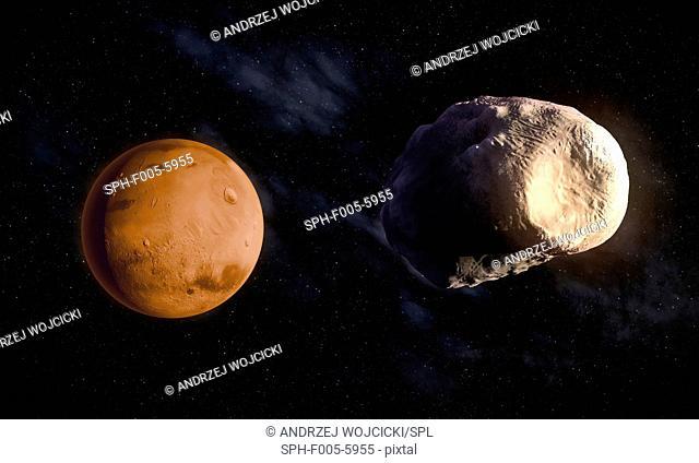 Phobos and Mars, computer artwork