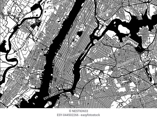 Map of Manhattan with parts of the Bronx, Queens, Brooklyn and Jersey City. Very detailled version without bridges and names