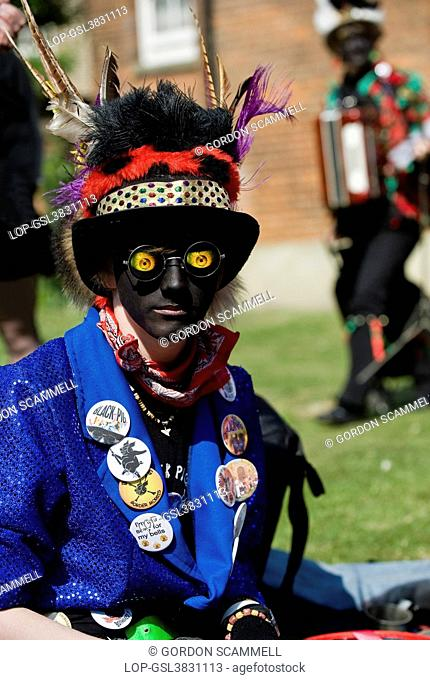 England, Kent, Rochester. A Morris Dancer from Black Pig Border Morris at the annual Sweeps Festival in Rochester