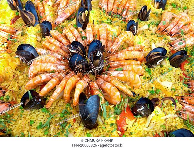 Seafood - Paella with Shrimps, Mussels and Rise