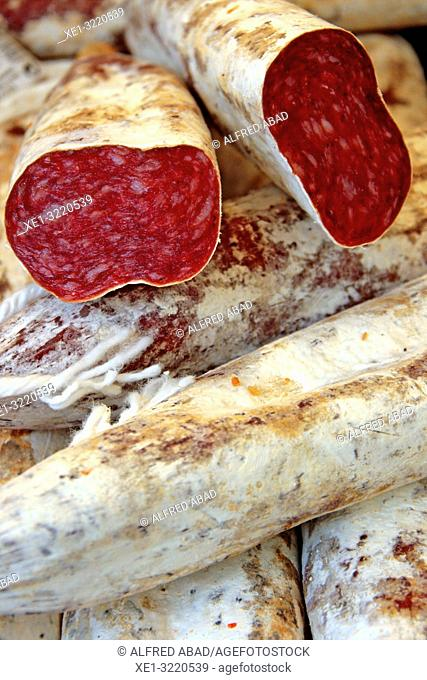 Llonganissa (Typical Catalan cured sausage) for sale in market