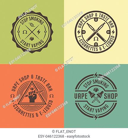 Vape shop and vapor bar, electronic cigarette and electronic liquid, set of vector labels, badges, emblems