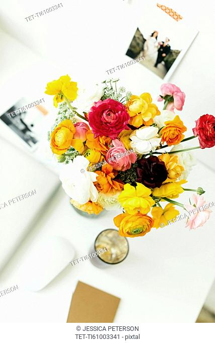 Bouquet on desk in office
