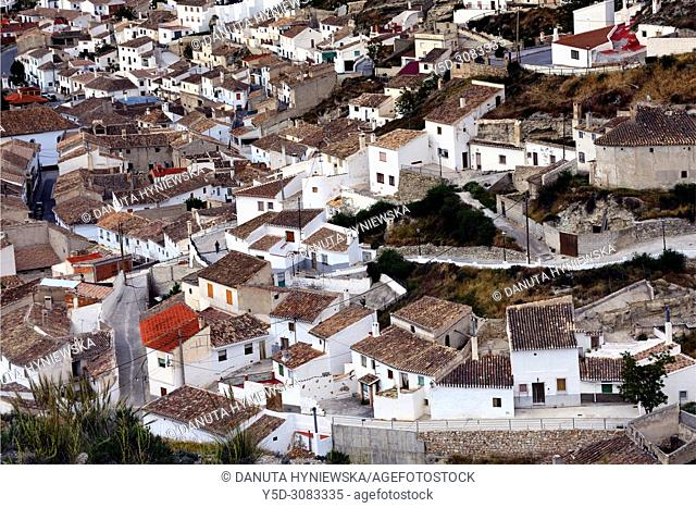 Panoramic view of Galera village in unspoilt cave country in mountainous region of northern Andalusia, between the Sierra Nevada and the Sierra de Castril