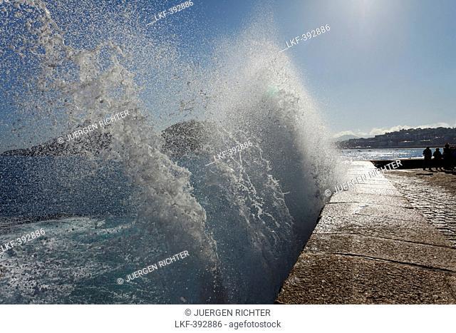 Breaking wave at the seaside promenade, Paseo del Peine del Viento, seafront, San Sebastian, Donostia, Camino de la Costa, Camino del Norte, coastal route