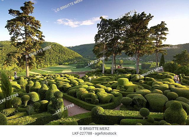 Les Jardins de Marqueyssac in the evening light, near Beynac, The wy of St. James, Road to Santiago, Chemins de Saint-Jacques, Via Lemovicensis, Beynac, Dept