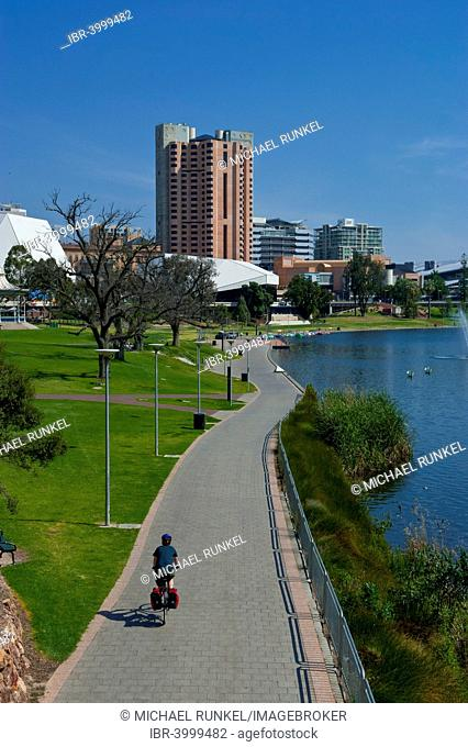 Adelaide business district with the River Torrens, Adelaide, South Australia