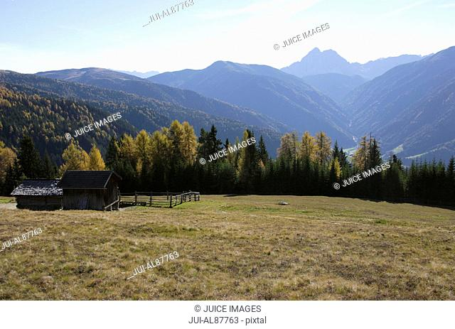 View from autumnal Luesener Alm to Peitlerkofel, Dolomite Alps, South Tyrol, Italy
