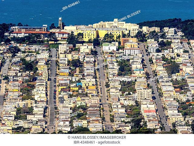 Aerial view, 44th Avenue, San Francisco VA Medical Center, San Francisco, San Francisco Bay Area, California, USA