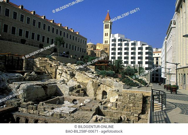 The ruins of the Roman bath in the city centre of Beirut of the capital of Lebanon in the Middle East in Arabia