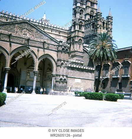 This slide, taken in 1970, shows the Norman Gothic Cathedral in Palermo, Sicily. The cathedral is dedicated to the Assumption of the Virgin Mary