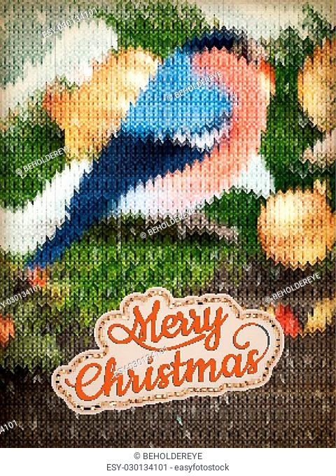Christmas label on a knitted Bullfinch background. EPS 10 vector file included