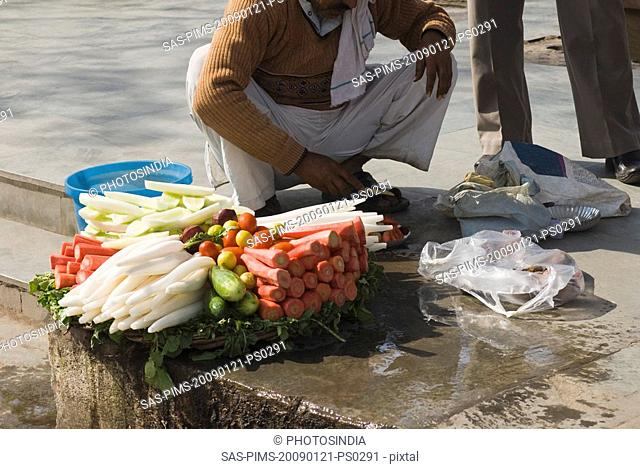 Vendor selling vegetable in a street, New Delhi, India
