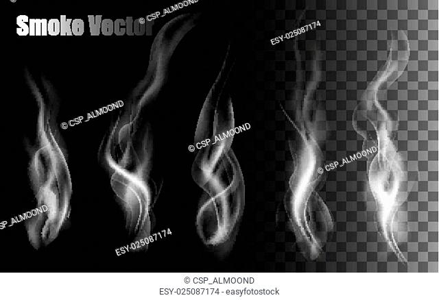 Smoke vectors on transparent background
