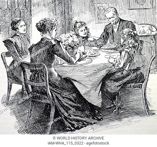 Engraving depicting a family enjoying afternoon tea. Dated 20th century