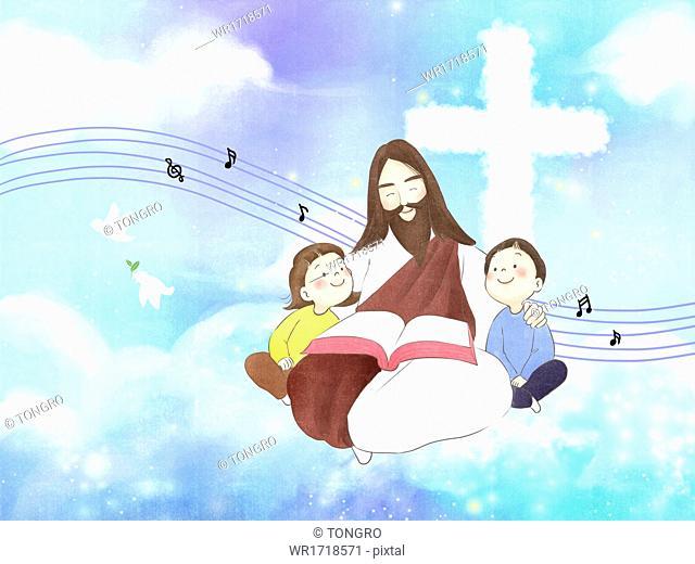 Jesus next to two kids