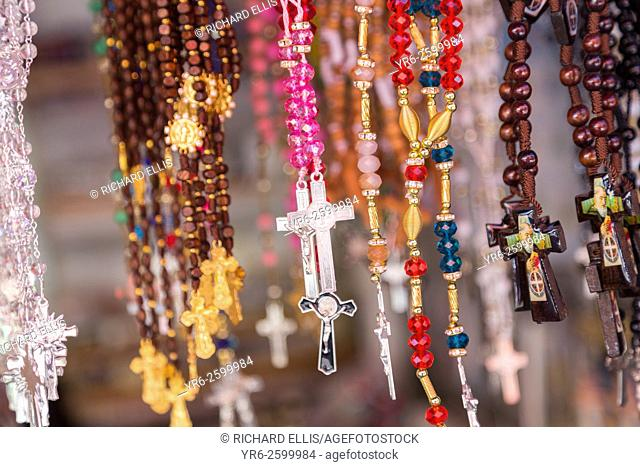 Religious icons and crucifixes for Mexican pilgrims and penitents at the tianguis at the Sanctuary of Atotonilco an important Catholic shrine in Atotonilco