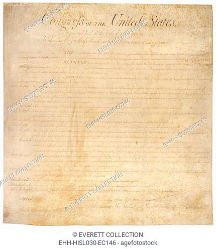 The Bill of Rights. The first ten amendments to the US Constitution were adopted by the House of Representatives on August 21 1789 and ratified December 15 1791