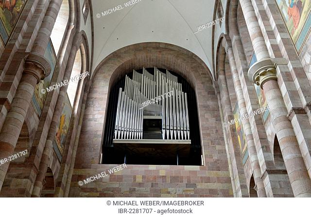 New Seifert organ, nave, Speyer Cathedral, Imperial Cathedral Basilica of the Assumption and St Stephen, UNESCO World Heritage Site, Speyer