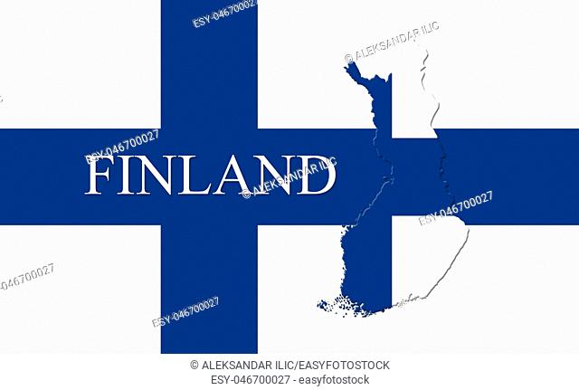 Flag of Finland With Map Of Country On It 3D illustration