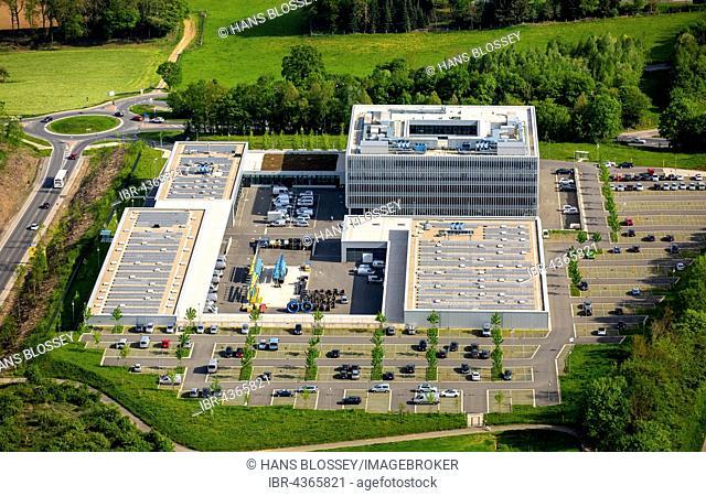 Aerial view, ENERVIE, South Westphalia energy and water AG, Headquarters Hagen-Haßley, Hagen, Ruhr district, North Rhine-Westphalia, Germany