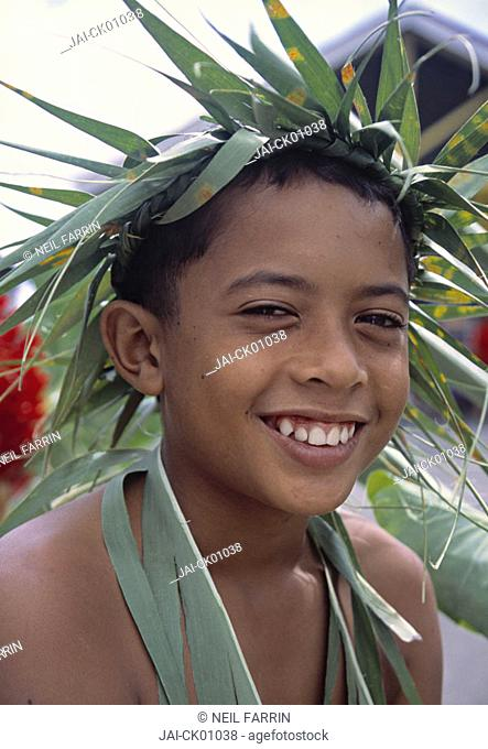 Portrait of young boy, Cook Islands