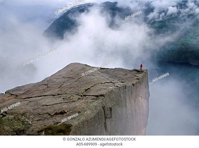 Preikestolen. Pulpit Rock. 600 meters over LyseFjord. Lyse Fjord, in Ryfylke district. Rogaland Region. It is the most popular hike in Stavanger area