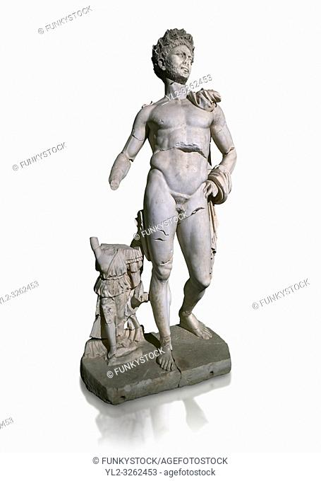 Roman statue of Emperor Trajan. Marble. Perge. 2nd century AD. Inv no . Antalya Archaeology Museum; Turkey. Against a white background