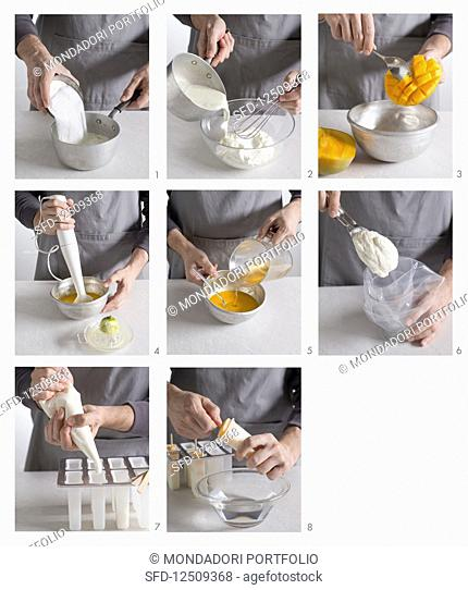 Ice lollies with yoghurt ice cream and mango sorbet being made
