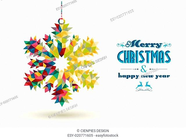 Christmas holidays triangle snowflake card