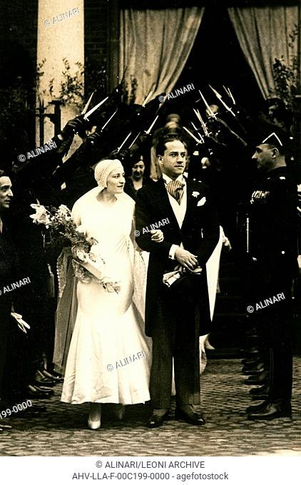 Edda Mussolini, daughter of the dictator Benito Mussolini, the day of his marriage to Gian Galeazzo Ciano in Rome, shot 25/04/1930 by Leoni, Luigi
