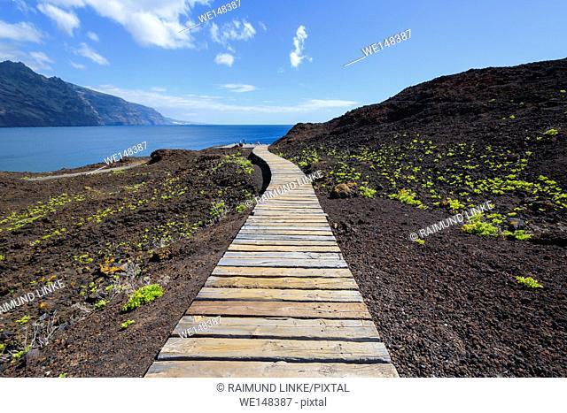 Boardwalk to the beach, Punta De Teno, Tenerife, Canary Islands, Spain