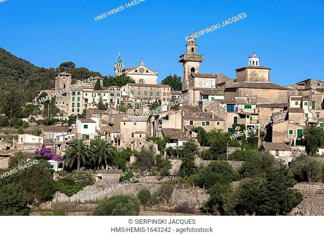 Spain, Balearic islands, Mallorca, Valldemosa, Monastery and the village