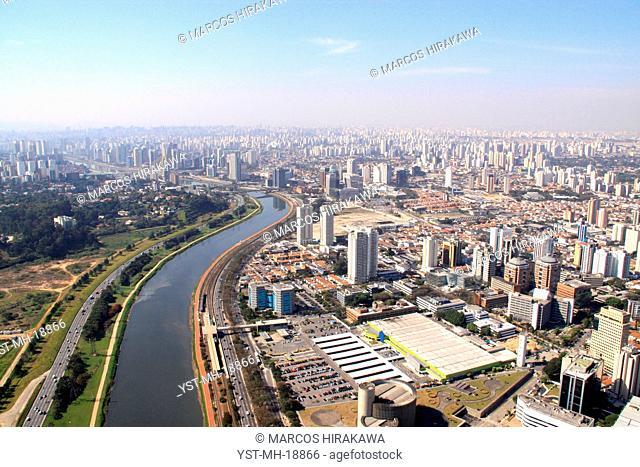 See of top, Avenue of the Nações Unidas, Marginal Avenue of Rio Pinheiros, Rio Pinheiros, Ponte of Morumbí, Jardim Morumbí, Vila São Francisco