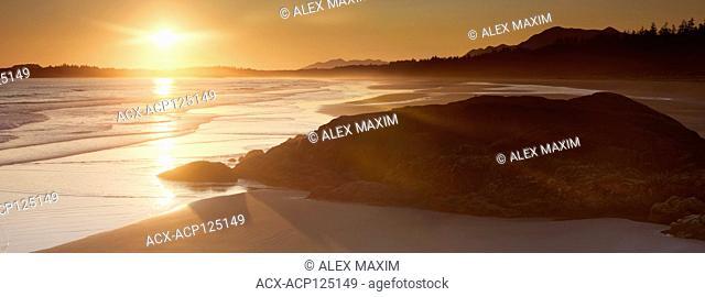 Pacific Rim National Park beach, Beautiful panoramic sunset summertime scenery. Pacific ocean shore in Tofino, Vancouver Island, BC, Canada
