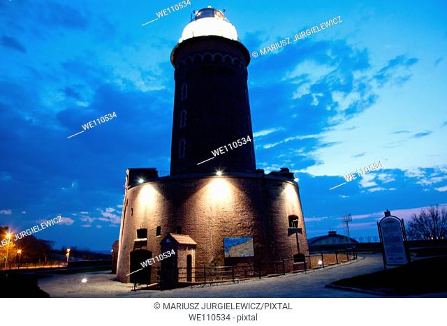Lighthouse in the Harbour of Kolobrzeg at night