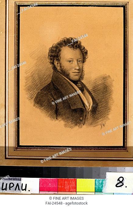 Portrait of the author Alexander S. Pushkin (1799-1837). Vivien, Joseph (1793-1852). Pencil, watercolour and white colour on paper. Neoclassicism