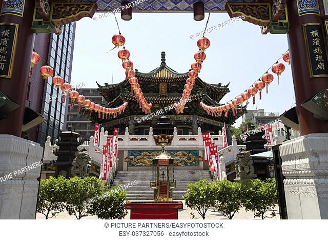 Chinese Mazu Miao Temple in China town in Yokohama city, Mazu, the Goddess of the Sea is worshipped at the Mazu Temple