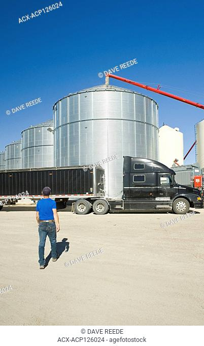 man walks towards a farm truck next grain bins in a farmyard, near Lorette, Manitoba
