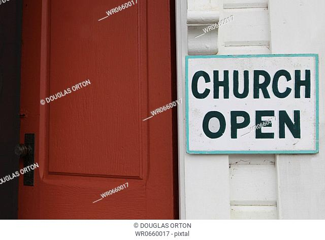 Church is Open sign. Oysterville Babtist Church, circa 1872 was re-dedicated as an ecumenical church in 1981. It is now managed by the Oysterville Restoration...