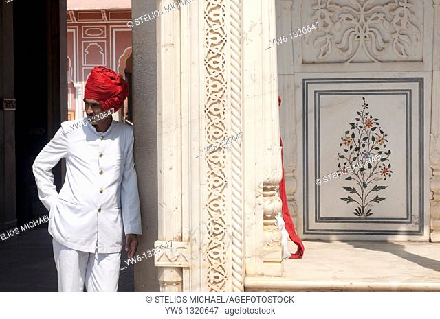 Jaipur City Palace Man with Red Turban